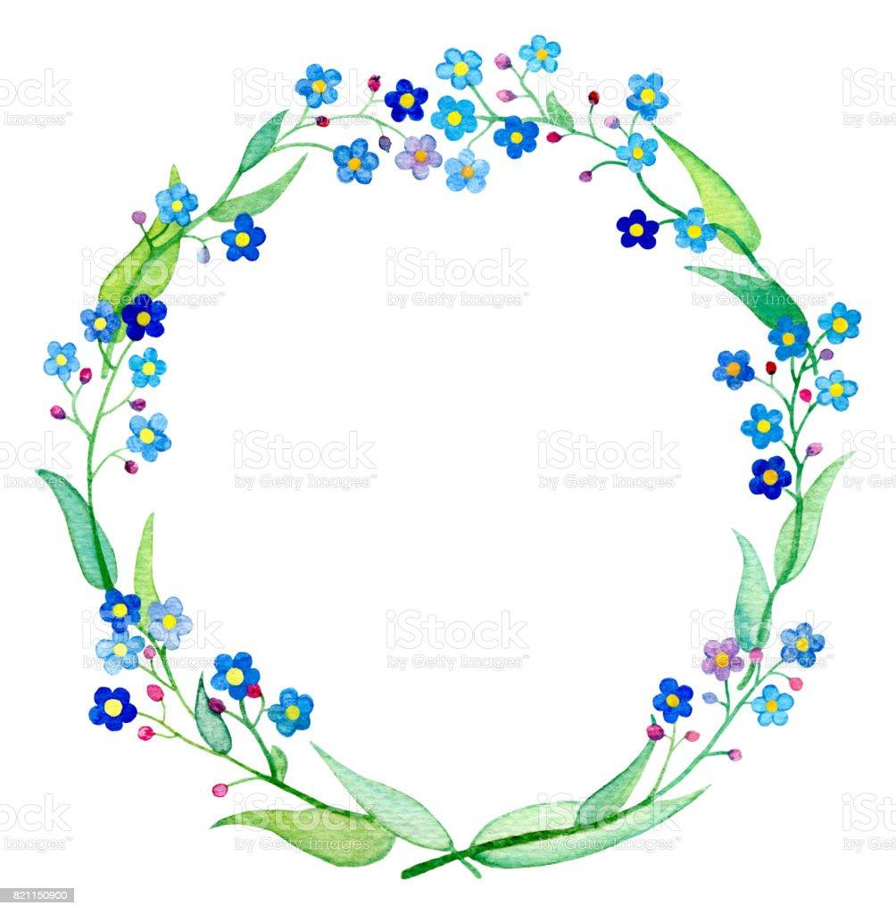 忘れな草花輪水彩イラスト春の花の花びらと葉を持つ Forgetmenot