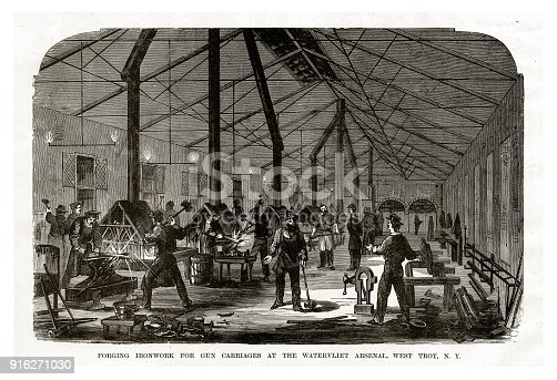Engraving of Forging Ironwork for Gun Carriages at the Watervliet Arsenal, West Troy, New York, 1861 Civil War Engraving from
