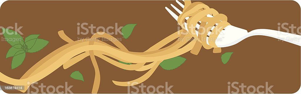 fork and pasta royalty-free stock vector art