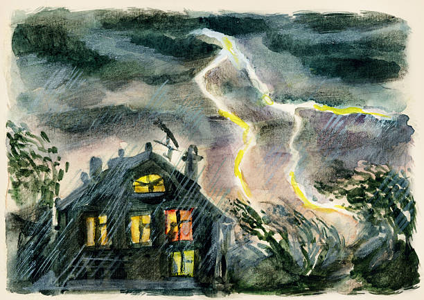 Forked lightning in the country Forked lightning in the country. Hand painted by photographer forked lightning stock illustrations