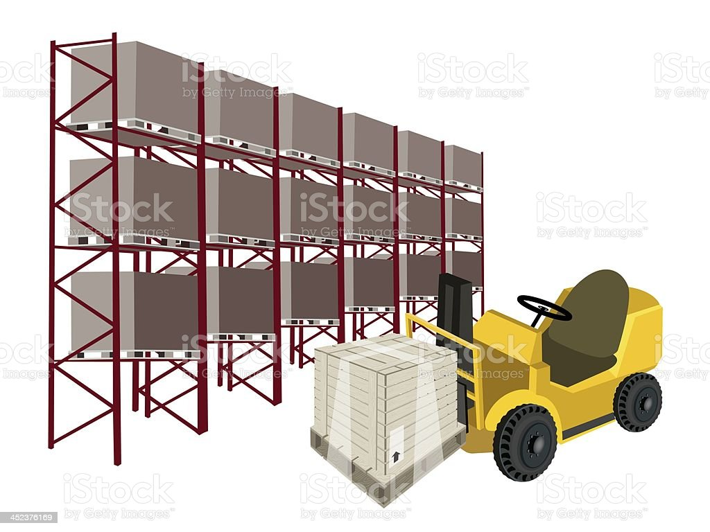 Forklift Truck Loading A Shipping Box in Warehouse royalty-free stock vector art