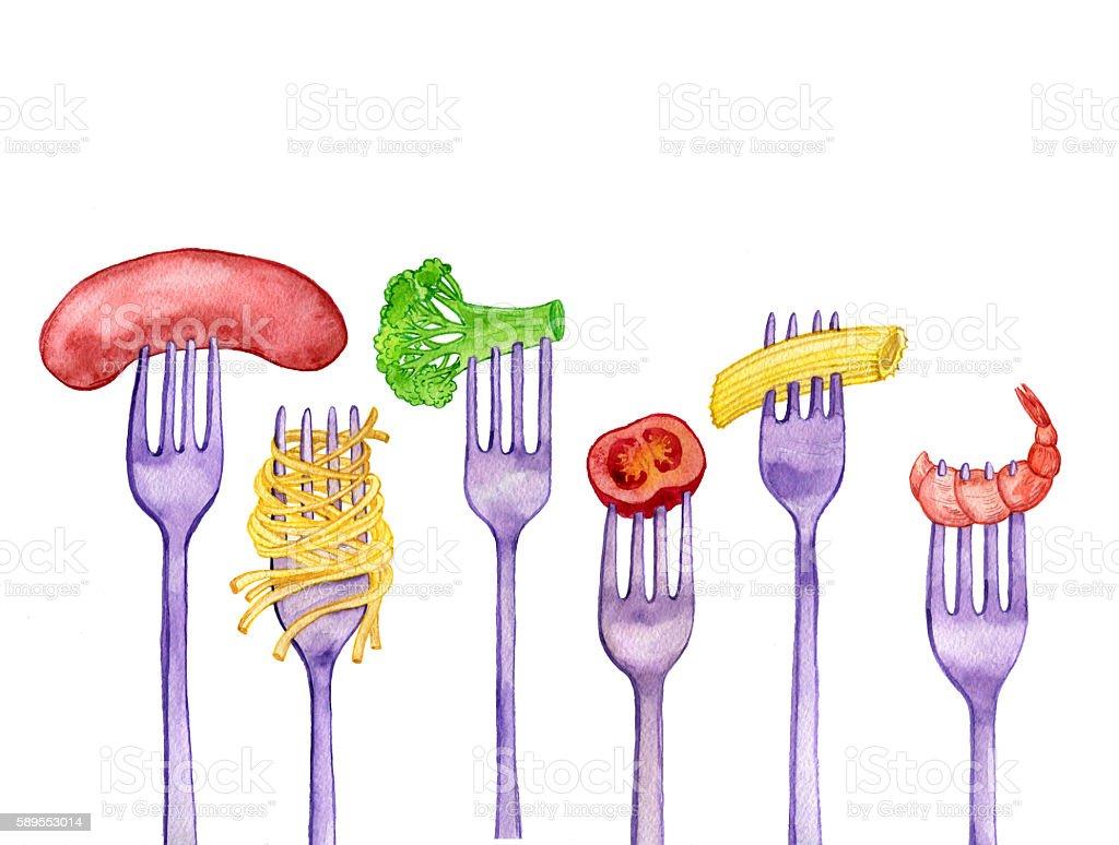 forks with foods vector art illustration