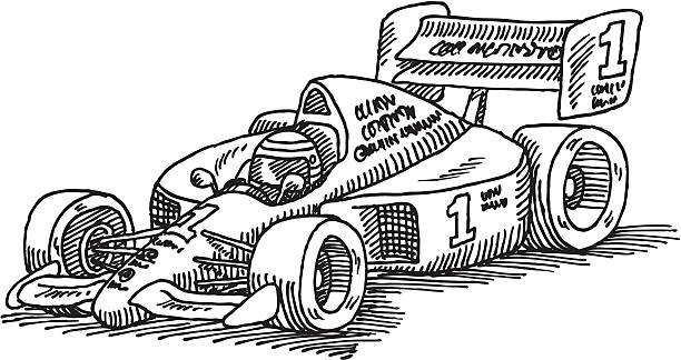 Formula One Racecar Drawing Hand-drawn vector drawing of a Formula 1 Racecar. Black-and-White sketch on a transparent background (.eps-file). Included files: EPS (v8) and Hi-Res JPG. sport stock illustrations