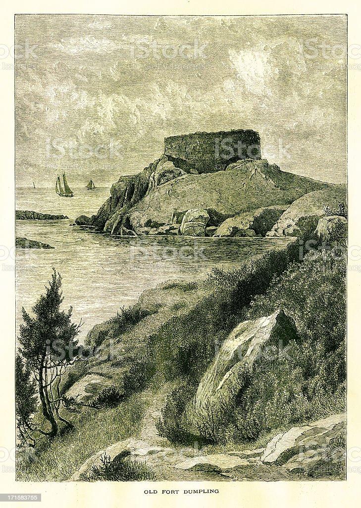 Fort Dumpling, Rhode Island | Historic American Illustrations royalty-free stock vector art