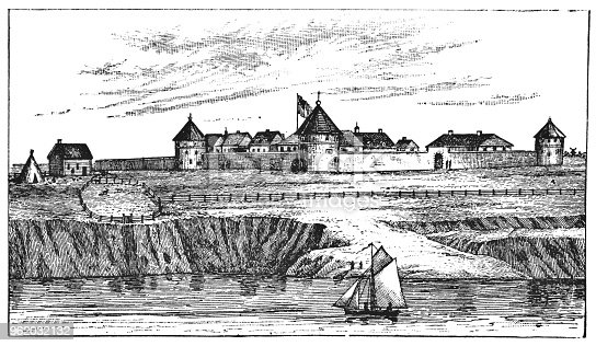 Fort Garry in Winnipeg, Manitoba, Canada. Vintage etching circa late 19th century.