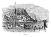 Very Rare, Beautifully Illustrated Antique Engraving of Fort Lee, New Jersey, Victorian Engraving, 1875. Source: Original edition from my own archives. Copyright has expired on this artwork. Digitally restored.