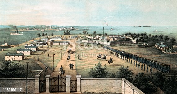 Vintage illustration of Fort McHenry, a historical fort located in Baltimore, Maryland and best known for its role in the War of 1812.