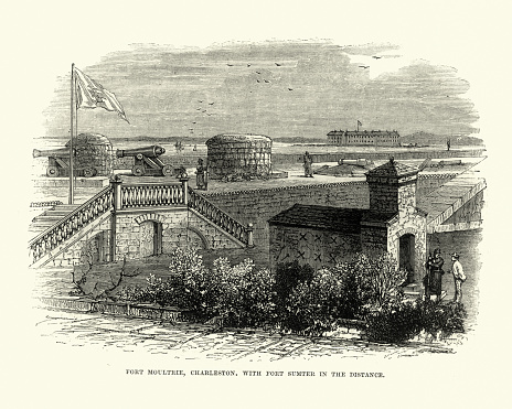 Fort Moultrie, Charlestown, with Fort Sumter in the distance