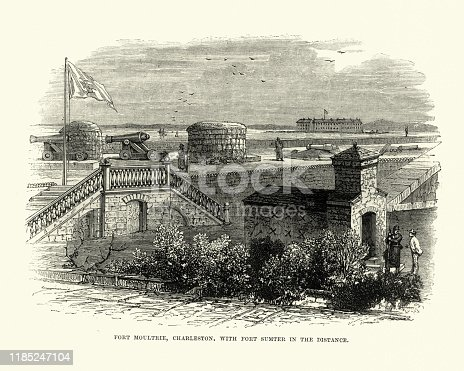 Vintage engraving of Fort Moultrie, Charlestown, with Fort Sumter in the distance 19th Century.
