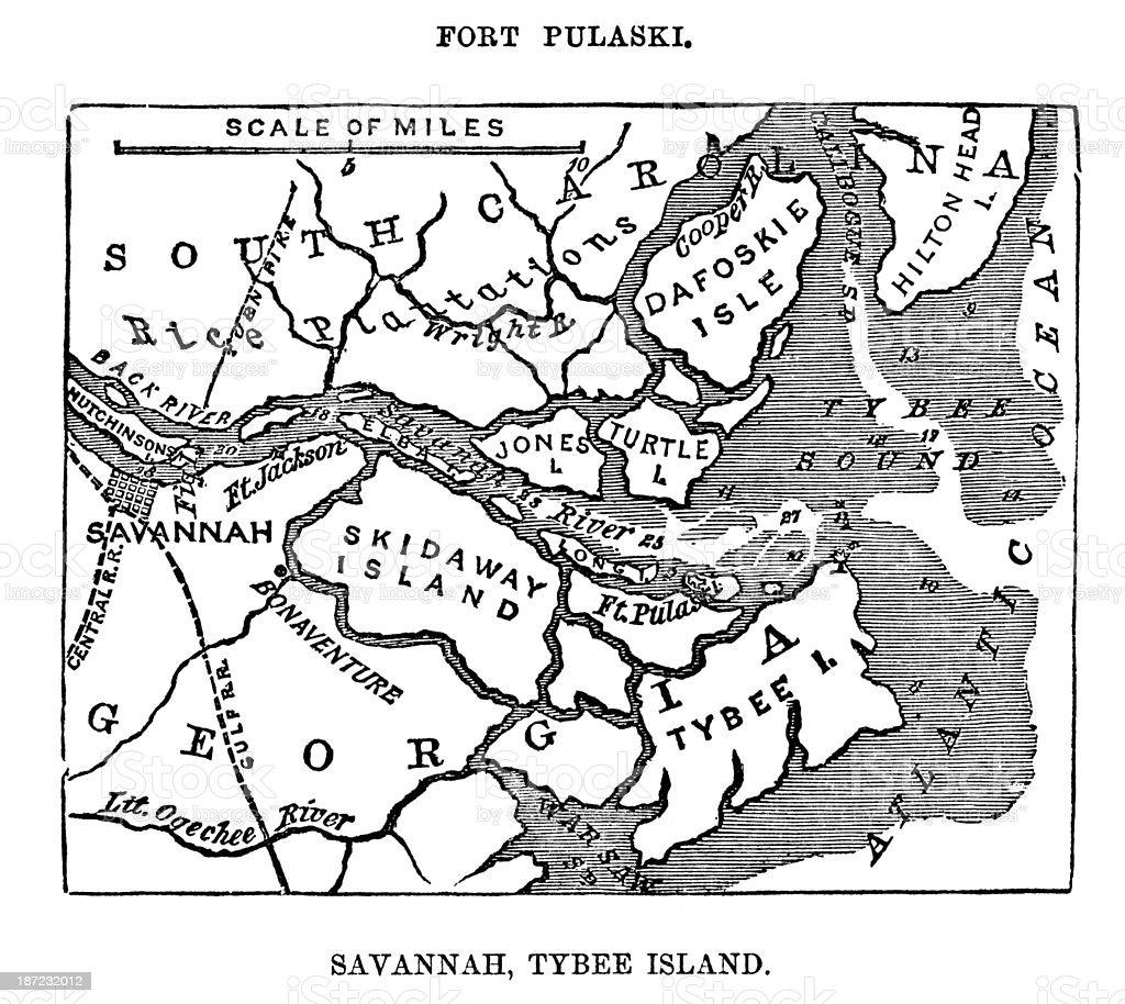 Fort Puaski In Savannah, Georgia vector art illustration