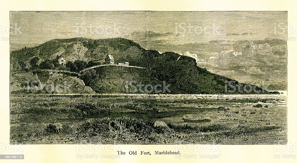 Fort Sewall, Marblehead, Massachusetts royalty-free stock vector art
