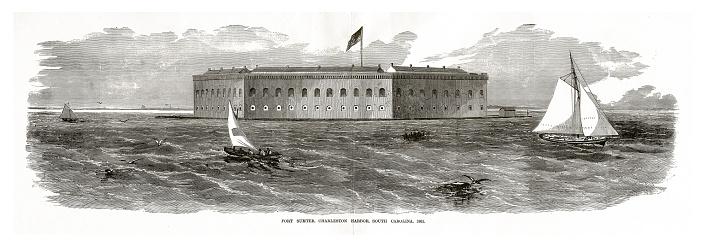 Fort Sumter, Charleston Harbor, Charleston, South Carolina, Civil War Engraving