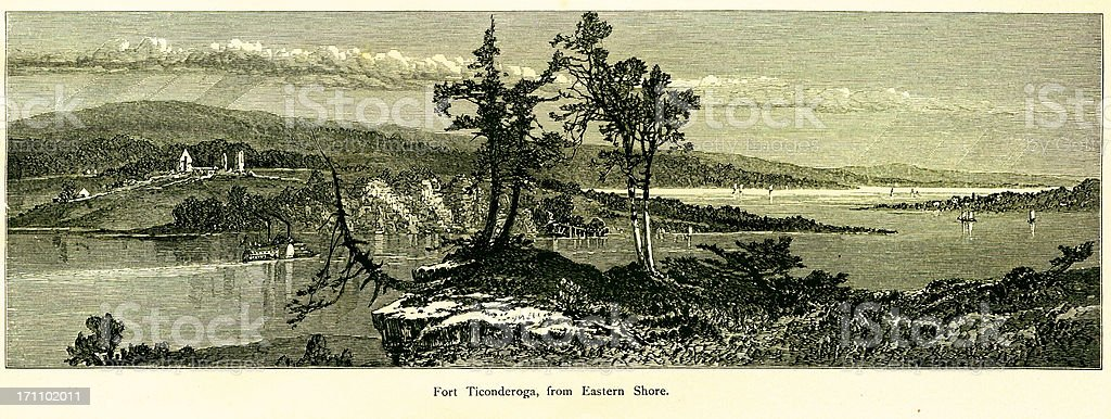 Fort Ticonderoga, New York vector art illustration