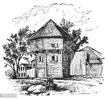 Fort Vancouver in Vancouver, Washington, United States.Until 1846 and the Oregon Treaty the fort was controlled by HBC. Vintage etching circa late 19th century.