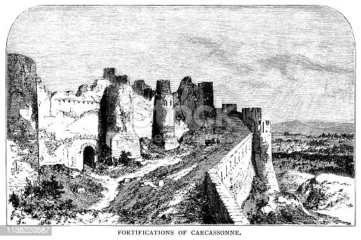 "Walls and towers around the fortified city of Carcassonne in the department of Aude in the Occitanie region. From ""French Pictures: Drawn With Pen and Pencil"" by the Rev. Samuel G. Green, D.D. Published by The Religious Tract Society, London, 1878."