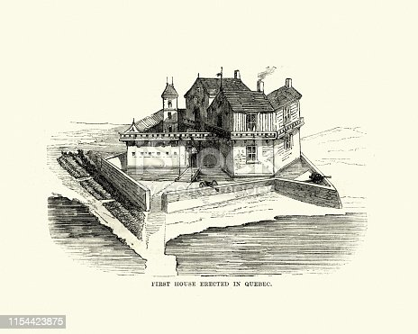 Vintage engraving of Fortified house, first house build in Quebec