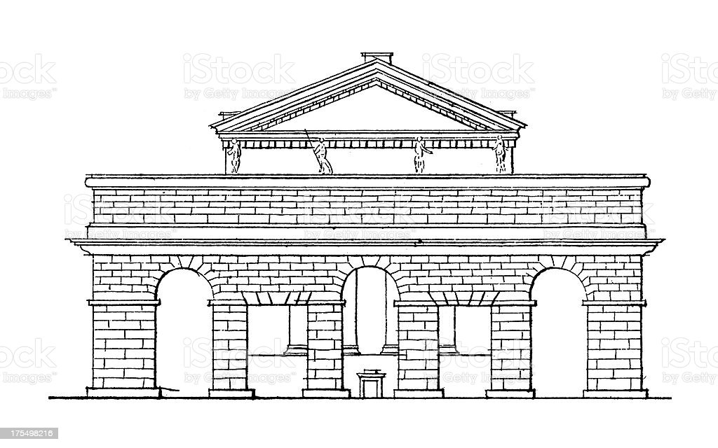 Forum of Nerva, Rome, Italy | Antique Architectural Illustrations royalty-free stock vector art
