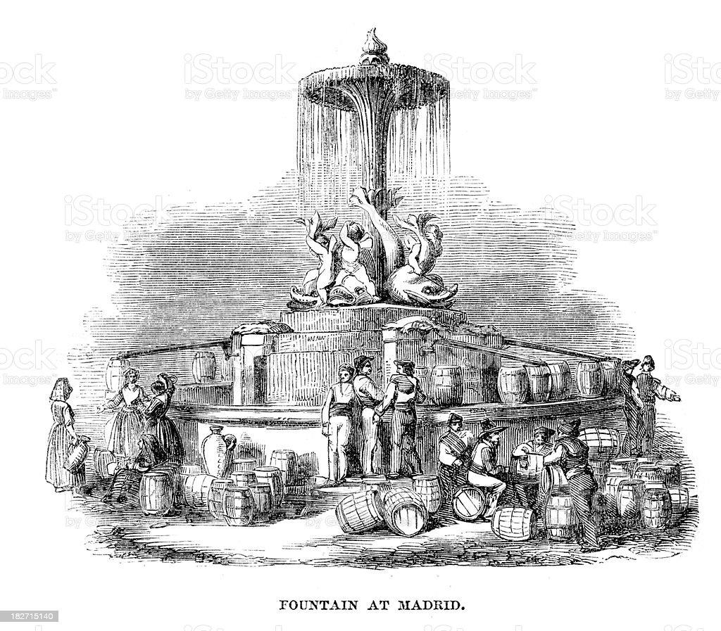 Fountain at Madrid royalty-free stock vector art