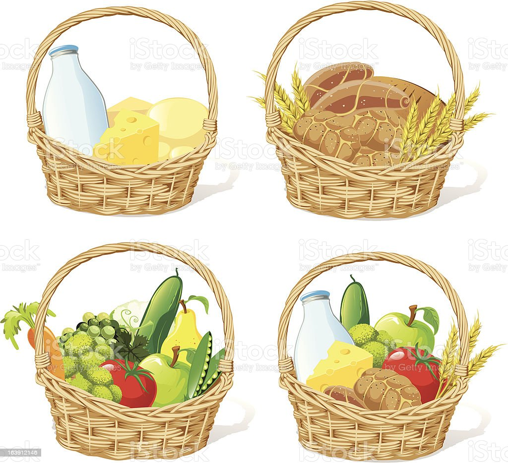 four baskets with milk, cheese, fruit, cereals and vegetable vector art illustration