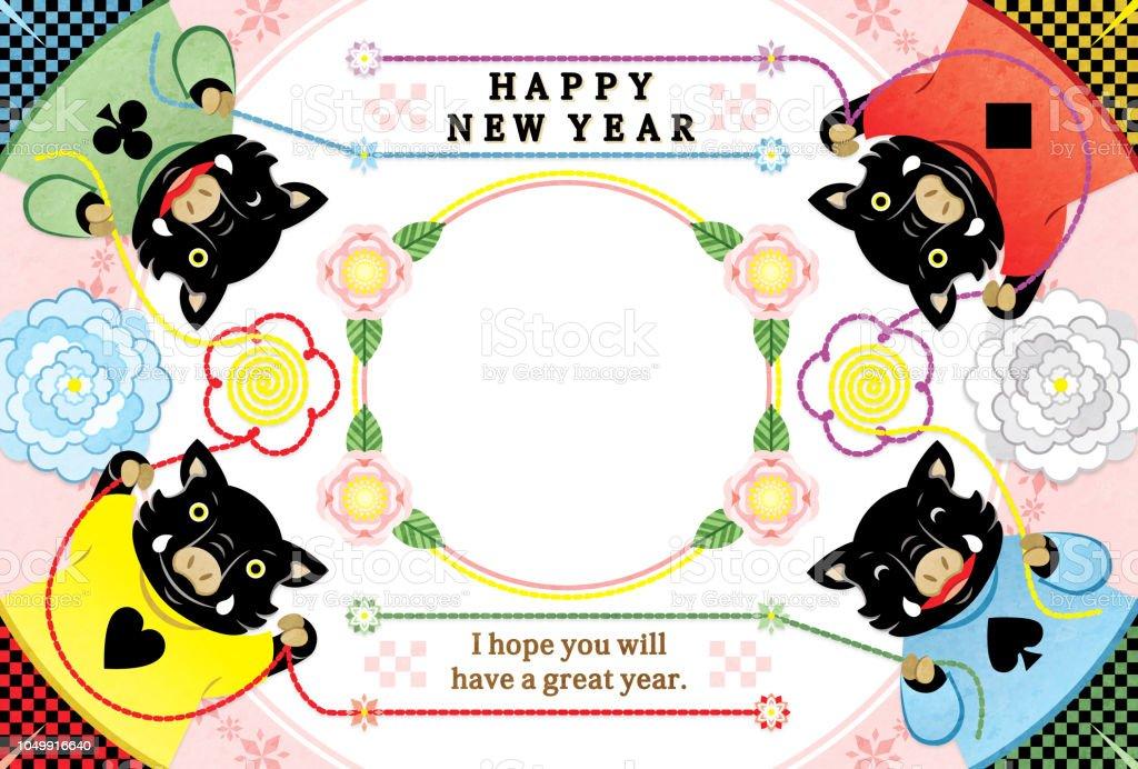 4 猪イラストお正月カード 2019 デザイン フレーム ロイヤリティフリー4 猪イラストお正月カード 2019 デザイン フレーム - 2019年のベクターアート素材や画像を多数ご用意