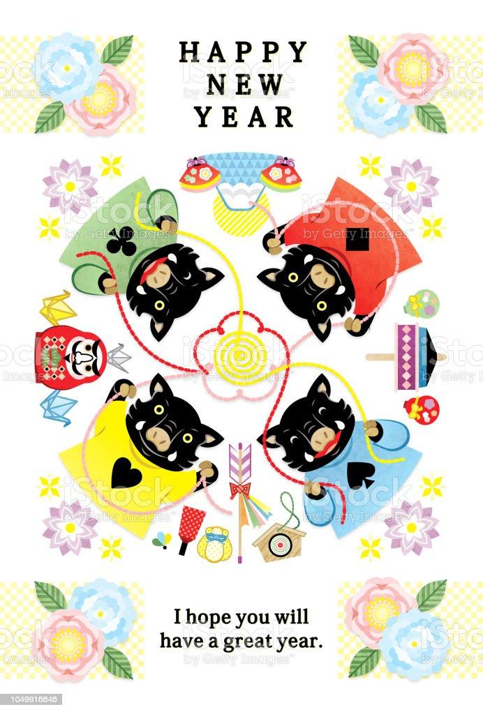 イノシシ イラスト新年は 2019年デザイン新年あけましておめでとうカード 's ベクターアートイラスト