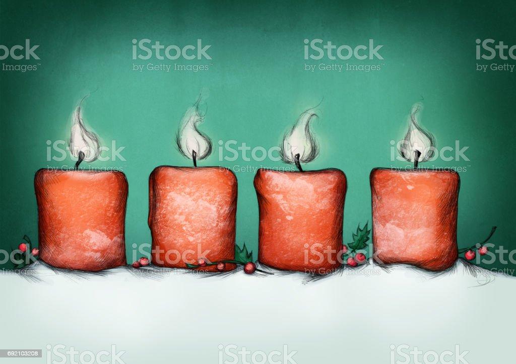 Vier brennende Advents-Kerzen – Vektorgrafik