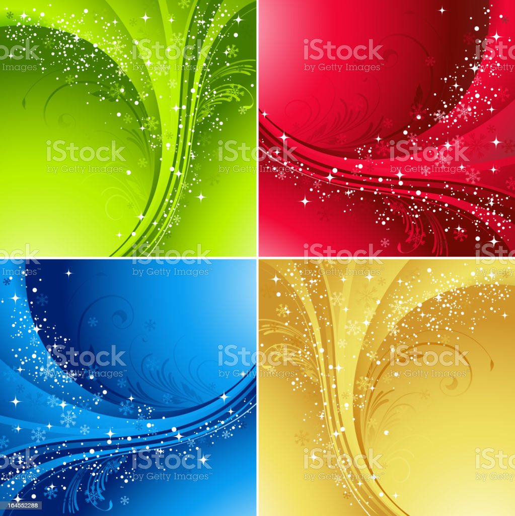Four color winter background royalty-free stock vector art