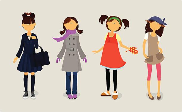 Cuatro Monada niñas en elegantes vestidos. - ilustración de arte vectorial