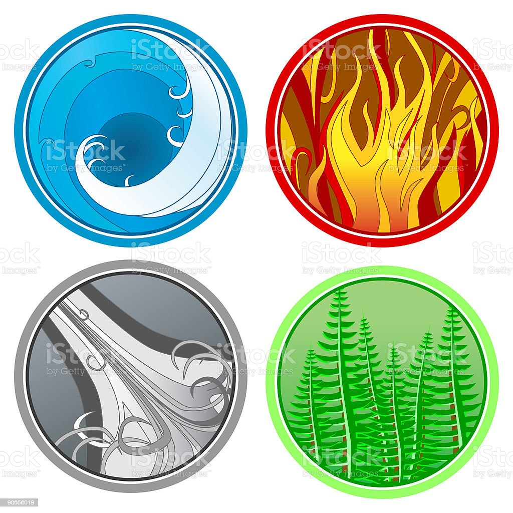 Four Elements - Vector royalty-free stock vector art