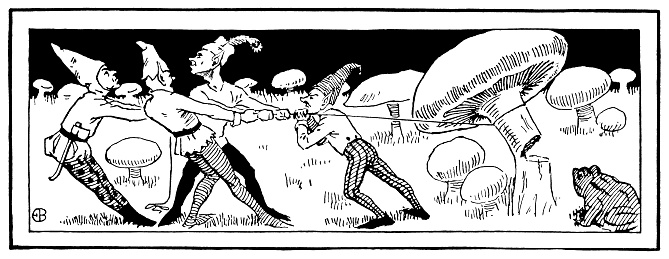 Four elves felling a large mushroom
