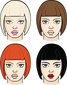 Four Vector Female Heads With Different Hair & Eye Colours.