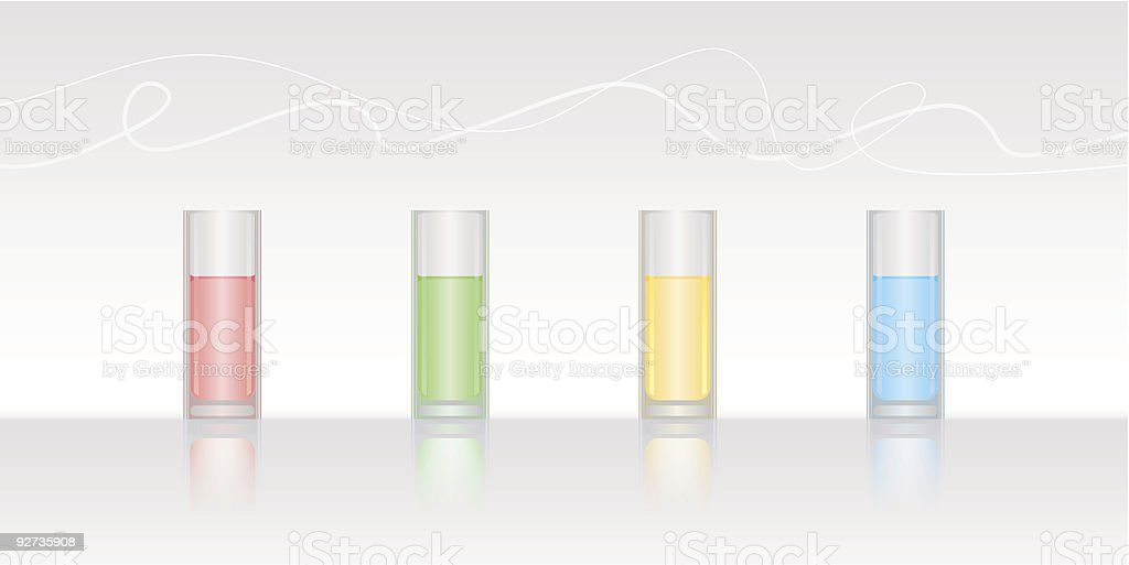 Vier Gläser mit farbigen Wasser Lizenzfreies vier gläser mit farbigen wasser stock vektor art und mehr bilder von alchemie