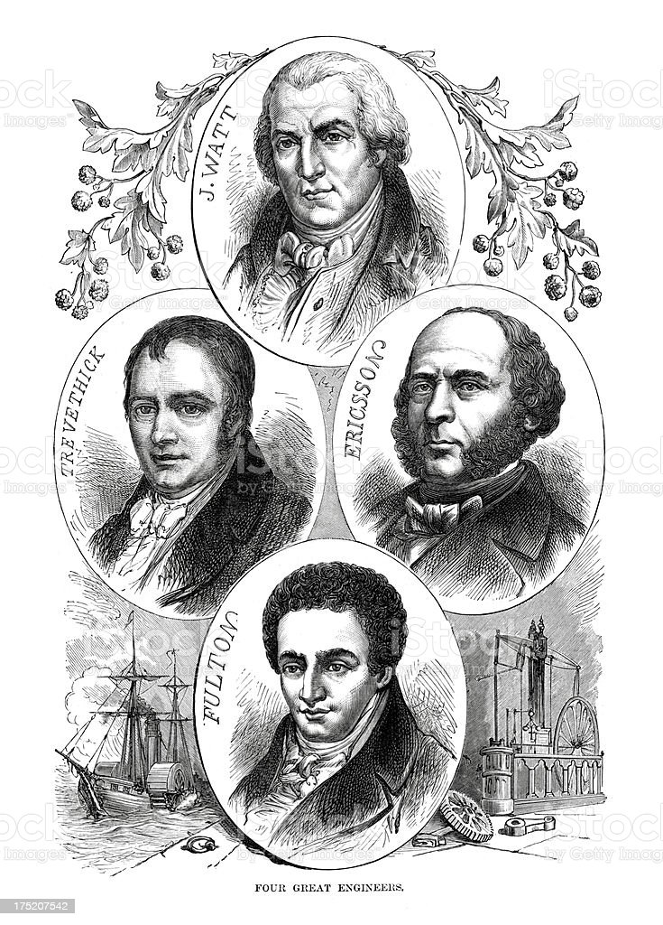 Four Great Engineers vector art illustration