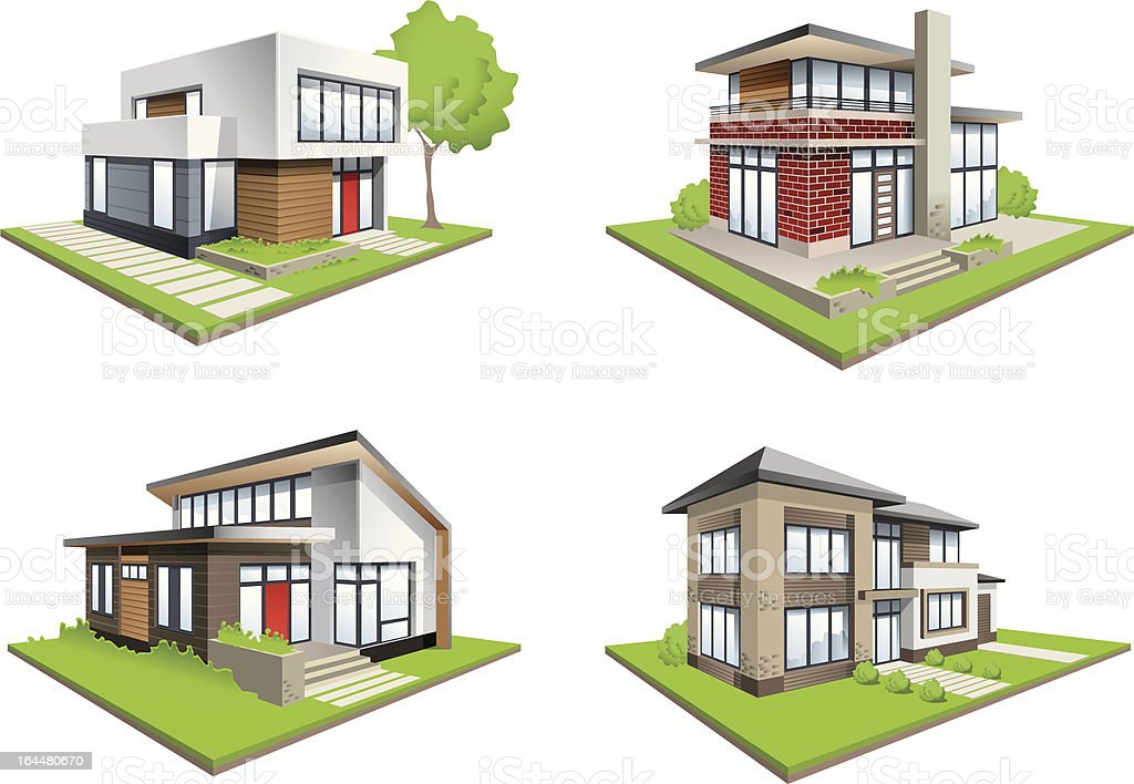 four houses modern mansions detailed icons royalty-free stock vector art