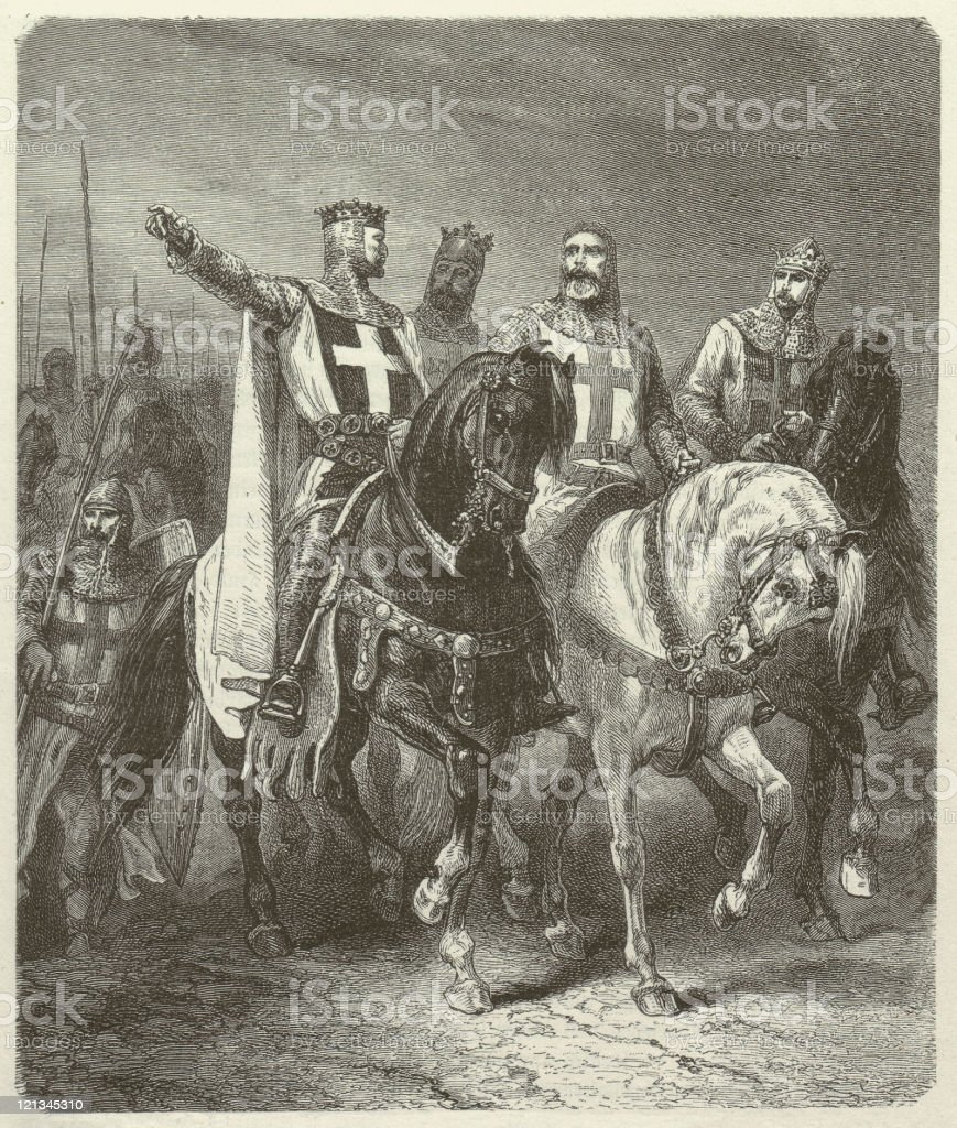 Four leaders of the First Crusade, wood engraving, published 1881 vector art illustration
