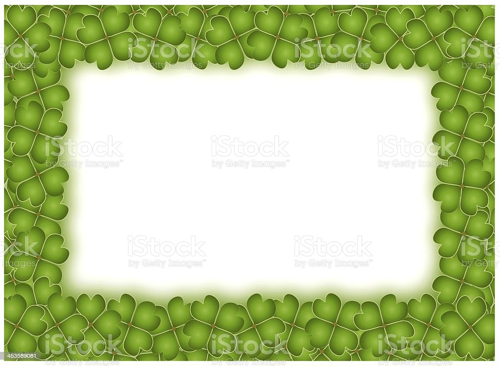 Four Leaf Clover Frame with Copy Space royalty-free stock vector art