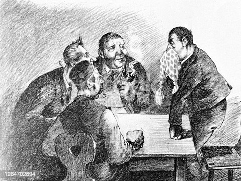 istock Four men at a table, discussing, one of them blows his nose into a handkerchief 1264702894