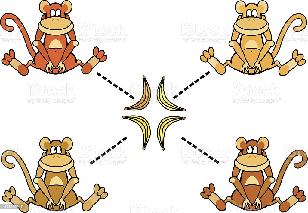 Four Monkeys and their Bananas royalty-free stock vector art