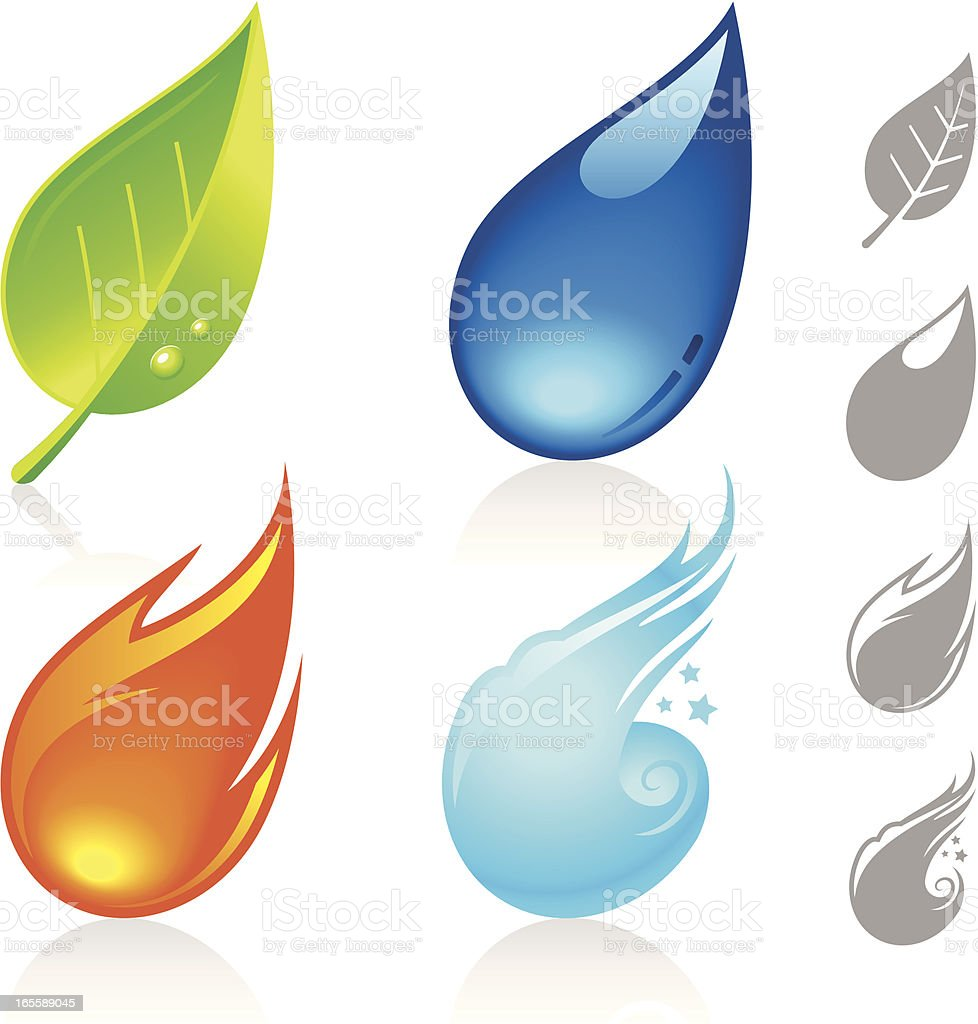 Four Nature Elements royalty-free four nature elements stock vector art & more images of blue