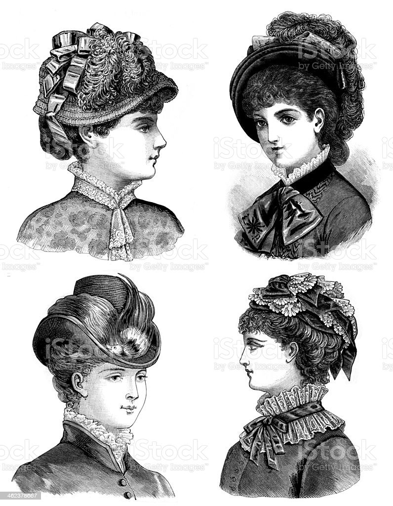 Four pen and ink illustrations of Victorian era women royalty-free stock vector art