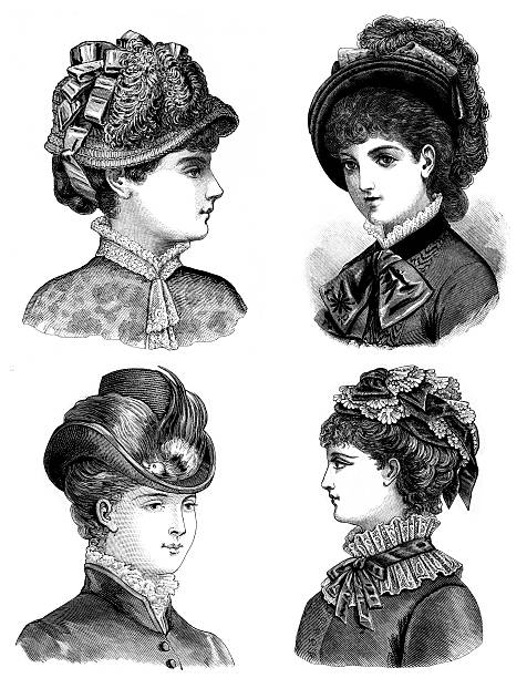 """Four pen and ink illustrations of Victorian era women Vintage fashion  illustration from a book of my private collection: """"La mode illustrée"""" printed in 1882 Paris France  edwardian style stock illustrations"""