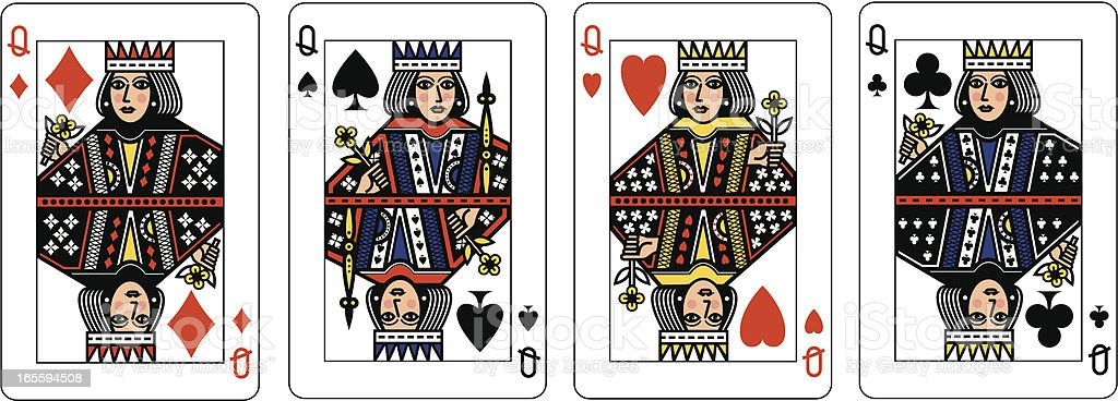 Four Queens vector art illustration