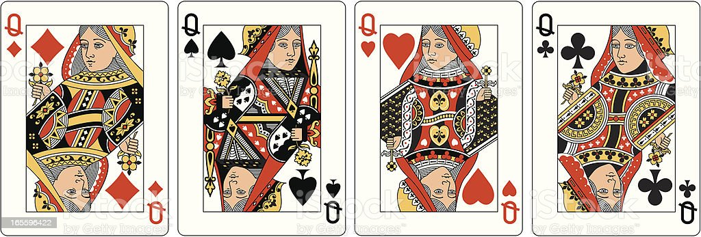 Four Queens Two playing card vector art illustration