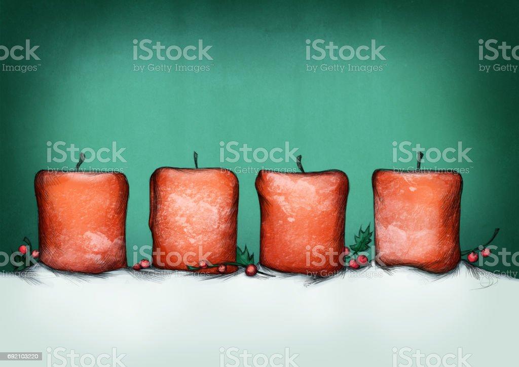 Vier rote Advent Kerzen – Vektorgrafik