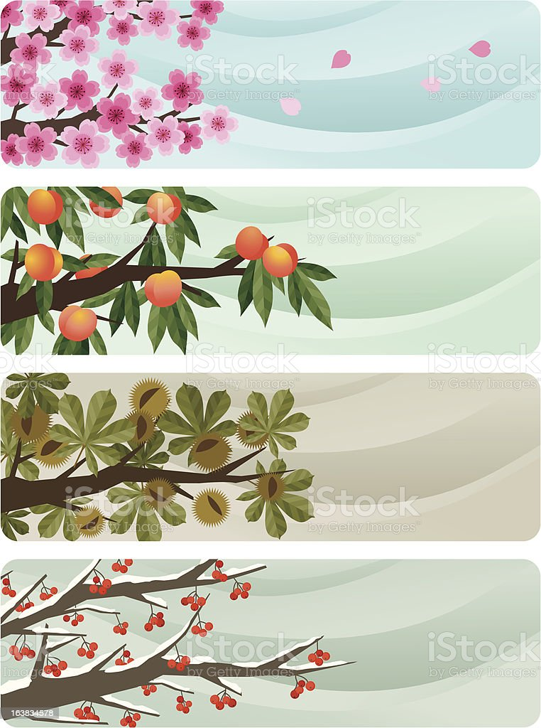 Four seansons banners vector art illustration