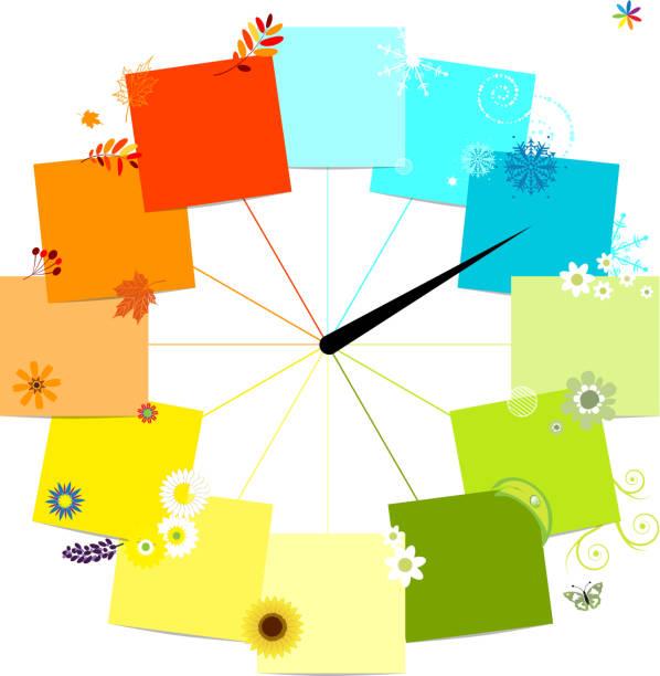 четыре сезоны концепции. дизайн часы - four seasons stock illustrations