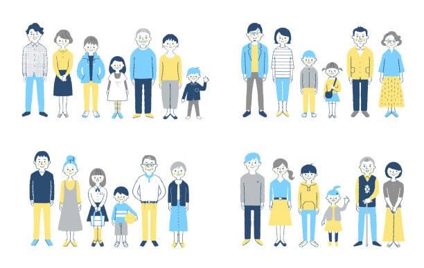 笑顔で立つ3世代家族4組 - 家族 日本点のイラスト素材/クリップアート素材/マンガ素材/アイコン素材