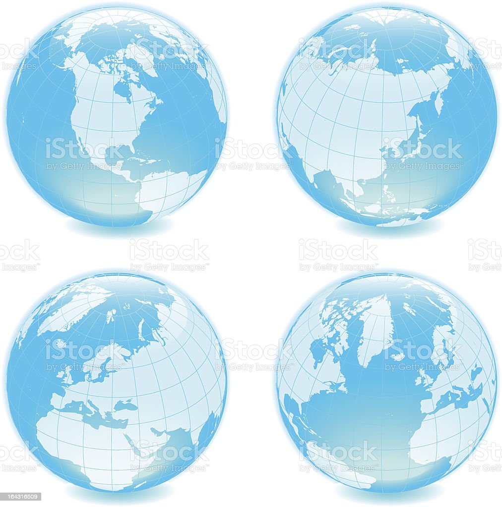 Four side shiny globes royalty-free stock vector art