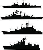 Four silhouettes of a ship