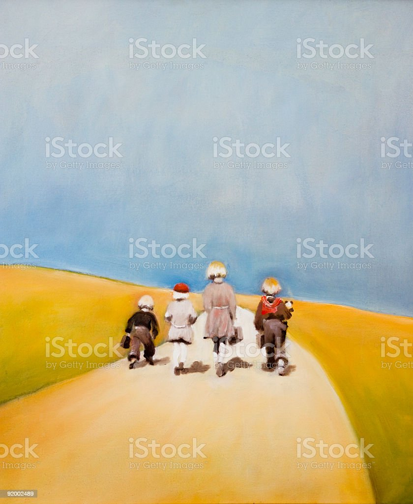 Four small girls walking on yellow road 'Away from home' royalty-free stock vector art